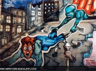 The drug, here represented as a green monster, comes out from a manhole and  grabs a boy, who falls down terrified. All around, drug packs | Drug | New York Murales