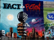 Which is the real face of NY? Fact, with amazing skyscrpers, blue sky and sunny day or...fiction, with buildings in ruin, dark sky and no light? | Fact or fiction | New York Murales