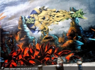 Flames and a surrealistic landscape | Flames | New York Murales