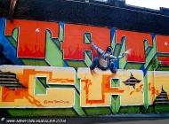 A climber spraying a wall   Sprayer   New York Murales