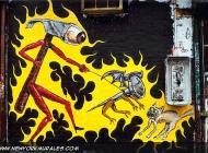 A surrealistic scene: an hammer taking a nail for a walk, scaring a cat | Surrealistic scene | New York Murales