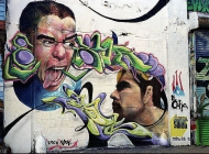 Two faces   Faces   New York Murales