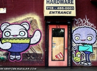 A cartoon murales style next to the shop entrance   A cartoon style   New York Murales