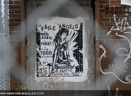 A poster on the wall for an event | The Faile Angels | New York Murales