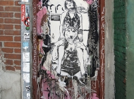 A poster with a woman domating a wolf, sitting over it (Brooklyn) New York Murales