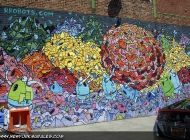 Robots, robotic ball andd landscape (Brooklyn) New York Murales
