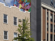 A geometric murales over a house (Brooklyn) New York Murales