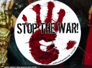 A blooding hand asking to stop the war | Stop war | New York Murales