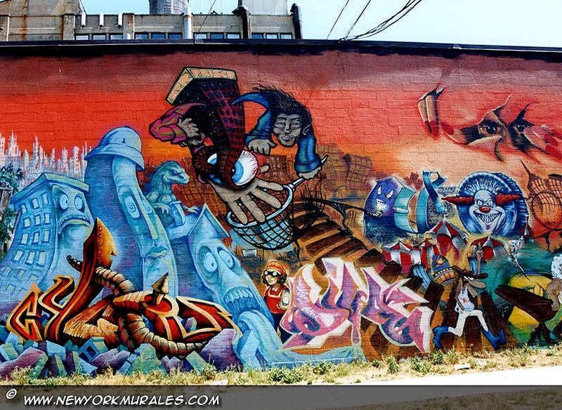 En tecknad stil murales