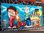 A comix style murales in Lower East Side (East Side) New York Murales