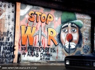 A murales against the war in Kuwait, in 1991. Here the written: No pretexts by US 4 Arab domination and Stop clowing around and bring our troops back (East Side) New York Murales