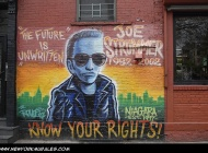 A murales in memory of John Graham Mellor (21 August 1952 – 22 December 2002). Best remembered by his stage name Joe Strummer, was an English musician who was the co-founder, lyricist, rhythm guitarist and lead vocalist of the British punk rock band The Clash | Joe Strummer | New York Murales