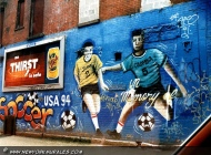 Soccer championship '95. A colombian soccer was killed for an autogoal, while playing against Japan | In memory of a colombian soccer player | New York Murales